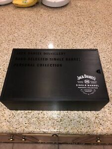 Jack Daniels Single Barrel Wood Box Collection Decanter And Glasses