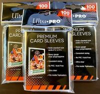 "ULTRA PRO PREMIUM CARD SLEEVES - FITS STANDARD 2 1/2"" x 3 1/2"" (3 PACKS OF 100)"