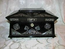 Antique English Colonial Ebonized Jewelry Box MOP Inlay 19th Century
