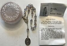 VTG ROSARY BRACELET CUT GLASS CLEAR IRIDESCENT BEADS OF STE ANNE W BOOKLET BOX