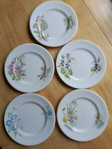 """5 ROYAL ALBERT CHINA SIDE PLATES   """" EARLY FLOWER OF THE MONTH """""""