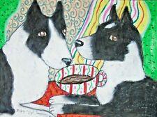 Karelian Bear Dog drinking Coffee 4x6 Art Print Collectible Signed Artist Ksams