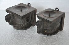 2 Pc Old Wooden Handcrafted Peacock Crafted Engraved Candle Stand,Collectible