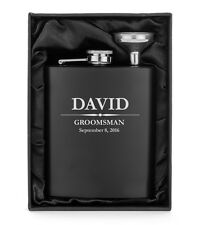 Custom Engraved Flask Matte Black Funnel Gift Box PERSONALIZED Groomsman Gift