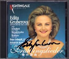 Edita GRUBEROVA Signed FRÜHLINGSLIEDER Schubert Brahms Mendelssohn CD Autograph