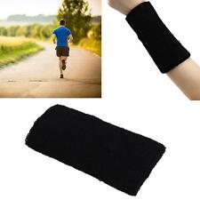 Unisex Cotton Sweat Band Wrist Sweatband Arm Band Basketball Tennis Gym Black #M