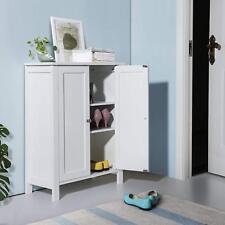 Bathroom Floor Storage Cabinet with Double Door Adjustable Shelf White