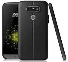 For LG G5 - TPU LEATHER HARD RUBBER GUMMY SLIM FITTING SKIN CASE COVER BLACK