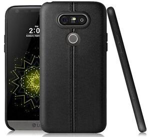 For LG G5 - TPU LEATHER HARD RUBBER GUMMY SLIM FITTING SKIN CASE COVER BLACK