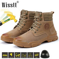 Safety Shoes Men's Waterproof Lightweight Steel Toe Cap Work Shoes Leather Boots