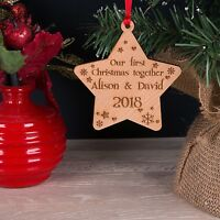 Personalised Our First Christmas Tree Decoration Bauble Xmas Star Keepsake Gift