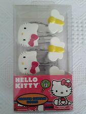 NIB Sanrio Hello Kitty Shower Curtain Hooks Set 12 Kitty Butterfly Design White