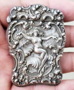 Sterling Silver Unger Bros Art Nouveau Nude Lady Match Safe
