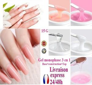 0.5oz One Phase UV Gel 3 IN 1 for Nails Nail Top Coat Base Construction 24-48H