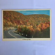 A Mass of Color Autumn Old Car Highway Scene Unposted Postcard