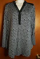 Women's Large Tunic Roll Tab Long Sleeve Shirt V Neck Pullover Black/White Top