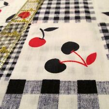 Lightweight cotton fabric navy blue red gingham cherry blocks BTHY half yard cut