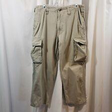 Steve Barry 31x30 cargo pants cotton VTG 90s khaki tan button flaps loose fit