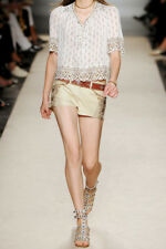NEW Isabel Marant Beige Devin Leather Embroidered Shorts F 40 UK 12