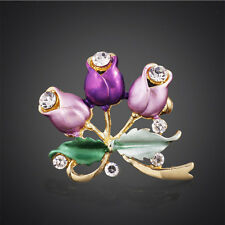 Charming Women Rhinestone Rose Flower Brooch Garment Decoration Bridal Brooch