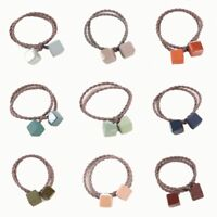 Square Stone Hair Band Headwear Double Layer Hair Rope Ponytail Scrunchy Holder~