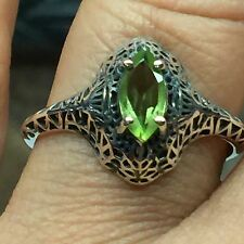 Genuine 1ct Green Peridot 925 Solid Sterling Silver Victorian Filigree Ring sz 6