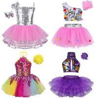 Toddler Kids Modern Jazz Dance Outfit Girls Sequins Ballet Dance Dress Costume
