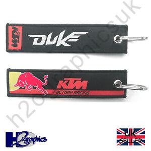 KTM Racing Duke Embroidered Keyring Key Chain UK Seller Fast Shipping Black