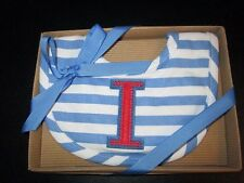"Initial ""I"" Blue/White Striped Bib in Gift Box by Mud Pie, Nib"