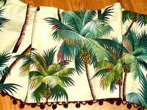 Jacqie's VINTAGE POMS VALANCE Tropical Hawaiian Barkcloth ~Palm Trees~