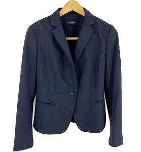 Ann Taylor Blazer Size 4 Black Pinstripe One Button Career Suit Jacket Womens