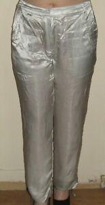 Silver Trousers UK12 Drawstring Leg Detail Satin Feel S6