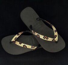 Crystal Havaianas or Wedge Gold Leopard Flip Flops w/ Swarovski Rhinestone Shoes