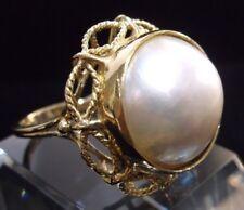 Vintage 14K Yellow Gold Filigree Mabe Pearl Ring