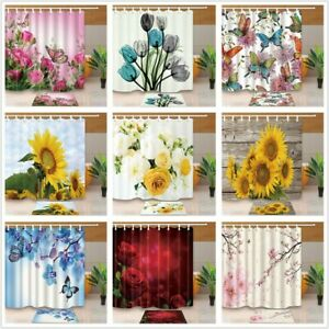 Flower Design Bathroom Waterproof Fabric Shower Curtain & Hooks Set Bathmat NEW