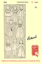Vintage Butterick 454 - Patsy, shirley temple 1930's Doll Clothes sewing pattern