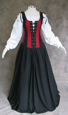 Renaissance Bodice Skirt and Chemise Medieval or Pirate Gown Dress Costume L