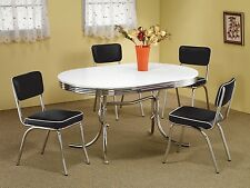 1950s STYLE CHROME RETRO DINING TABLE SET BLACK CHAIRS DINING ROOM FURNITURE SET