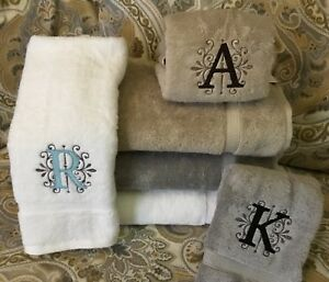 Custom Monogram Embroidered Hand Towel - Gray White or Tan * Letter in Scroll *