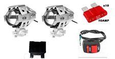 2faretti moto led cree u5 125W silver3000 lumen+interruttore+fusibile+portafusib