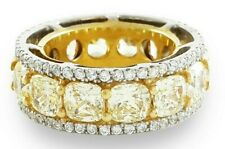 925 Sterling Silver eternity Ring Yellow Cushion White Round cocktail size 5 cls