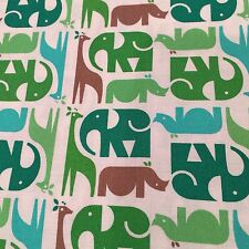 Zoo MenagerIe Animal Stripe Multi Green / Brown Free Spirit Fabric Adorable!