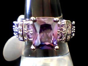 """Unique"" Purple Amethyst & Austrian Crytals 18Kt. Wht. Gold Filled Ring Sz. 8"