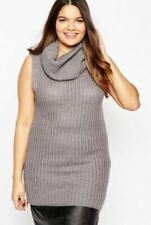 Brave Soul Plus Chunky Knit Sleeveless Cowl Neck Grey Jumper Dress BNWT Size 20