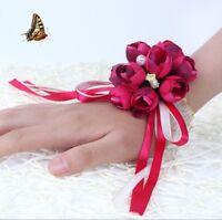 Flower Wrist Corsage Pearl Bead Bracelet Wedding Prom Party Bridesmaid Decor FD