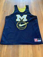Michigan Wolverines Vintage Nike Jersey Fab 5 Reversible Warmup Size L EUC RARE