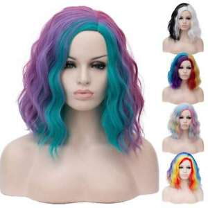 Lolita Fashion Gradient Medium Curly Party Heat Resistant Multicolor Cosplay Wig