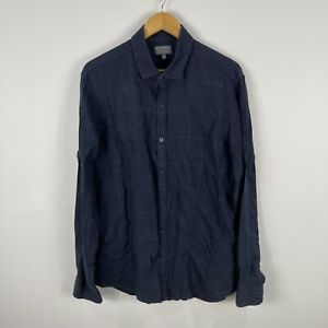 Witchery Mens Linen Button Up Shirt Size Large Blue Long Sleeve Collared 96.01