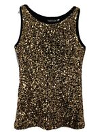 Pretty Guide Tank Top Sleeveless Sequins Polyester Gold - Women Size Small NWT