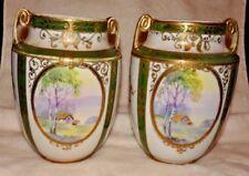 "Antique NIPPON Morimura BrosHand Painted MORIAGE Handled Vases 7"" STUNNING Set"